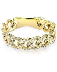 Anne Sisteron | 14kt Yellow Gold Diamond Chain Link Light Ring | Lyst