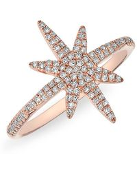 Anne Sisteron - 14kt Rose Gold Diamond Glimmer Star Ring - Lyst