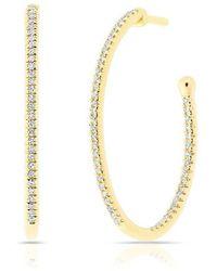 Anne Sisteron - 14kt Yellow Gold Diamond Oval Small Hoop Earrings - Lyst