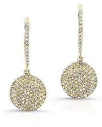 Anne Sisteron - 14kt Yellow Gold All Diamond Disc Earrings - Lyst