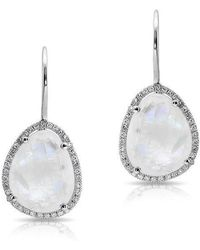 Anne Sisteron - 14kt White Gold Moonstone Diamond Organic Shape Earrings - Lyst
