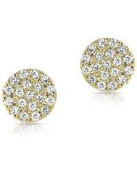Anne Sisteron - 14kt Yellow Gold Mini Diamond Disc Stud Earrings - Lyst