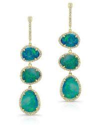 Anne Sisteron | 14kt Yellow Gold Opal Diamond Triple Drop Earrings | Lyst