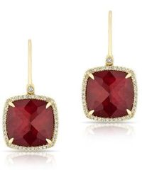 Anne Sisteron - 14kt Yellow Gold Ruby Mini Cushion Diamond Earrings - Lyst