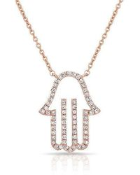 Anne Sisteron - 14kt Rose Gold Diamond Hamsa Necklace - Lyst