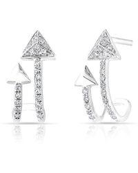 Anne Sisteron - 14kt Rose Gold Diamond Curved Arrow Huggie Earrings - Lyst