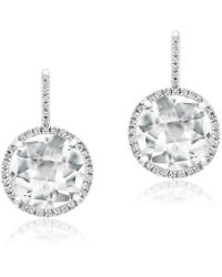 Anne Sisteron - 14kt White Gold White Topaz Diamond Round Earrings - Lyst