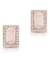 Anne Sisteron - 14kt Rose Gold Moonstone Diamond Mini Rectangle Stud Earrings - Lyst