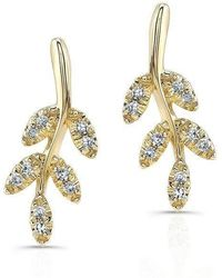 Anne Sisteron - 14kt Yellow Gold Diamond Ivy Stud Earrings - Lyst