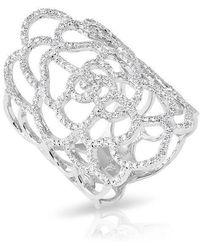 Anne Sisteron | 14kt White Gold Diamond Camellia Flower Ring | Lyst