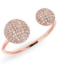 Anne Sisteron - 14kt Rose Gold Diamond Double Bouton Ring - Lyst
