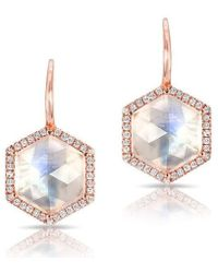 Anne Sisteron - 14kt Rose Gold Diamond Moonstone Hexagon Earrings - Lyst