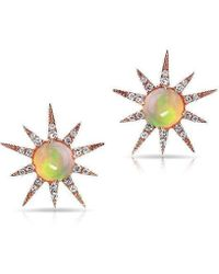 Anne Sisteron - 14kt Rose Gold Opal Diamond Starburst Stud Earrings - Lyst