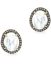 Anne Sisteron - 14kt Oxidized White Gold Pearl And Champagne Diamond Earrings - Lyst