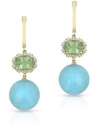 Anne Sisteron - 14kt Yellow Gold Turquoise Blue Apatite Diamond Earrings - Lyst