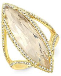 Anne Sisteron - 14kt Yellow Gold Diamond Topaz Serena Ring - Lyst