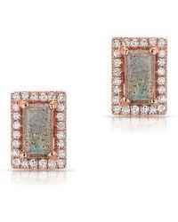 Anne Sisteron - 14kt Rose Gold Labradorite Diamond Mini Rectangle Stud Earrings - Lyst