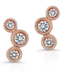 Anne Sisteron - 14kt Rose Gold Bezel Set Diamond Hazel Earrings - Lyst