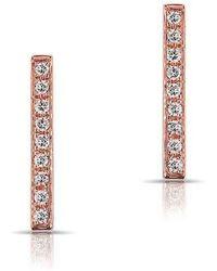 Anne Sisteron - 14kt Rose Gold Diamond Bar Stud Earrings - Lyst