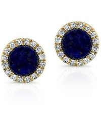 Anne Sisteron - 14kt Yellow Gold Lapis Lazuli Diamond Round Stud Earrings - Lyst