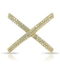 Anne Sisteron | 14kt Yellow Gold Diamond X Bandeau Ring | Lyst
