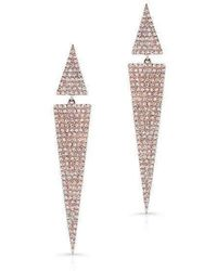 Anne Sisteron | 14kt Rose Gold Diamond Double Triangle Earrings | Lyst