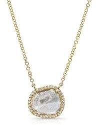 Anne Sisteron - 14kt Yellow Gold Elegant Diamond Slice Necklace - Lyst