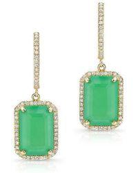 Anne Sisteron - 14kt Yellow Gold Rectangle Chrysoprase Diamond Earrings - Lyst