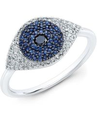 Anne Sisteron - 14kt White Gold Diamond And Blue Sapphire Evil Eye Ring - Lyst