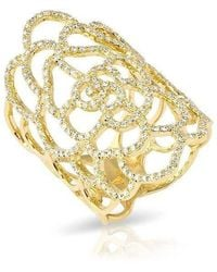 Anne Sisteron - 14kt Yellow Gold Diamond Camellia Flower Ring - Lyst
