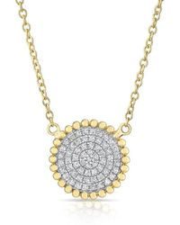 Anne Sisteron - 14kt Yellow Gold Diamond Large Scalloped Disc Necklace - Lyst