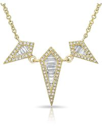 Anne Sisteron - 14kt Yellow Gold Baguette Diamond Triple Spear Necklace - Lyst