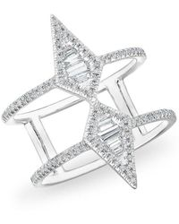 Anne Sisteron - 14kt White Gold Baguette Diamond Double Spear Ring - Lyst