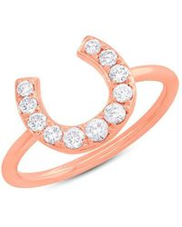 Anne Sisteron - 14kt Rose Gold Diamond Horseshoe Ring - Lyst
