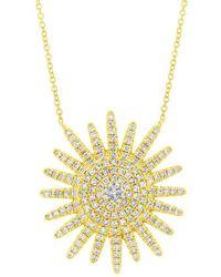 Anne Sisteron - 14kt Yellow Gold Diamond Aurora Sun Necklace - Lyst