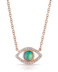 Anne Sisteron - 14kt Rose Gold Diamond Open Opal Evil Eye Sukie Necklace - Lyst