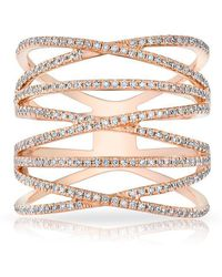 Anne Sisteron - 14kt Rose Gold Diamond Multiband Riverly Ring - Lyst