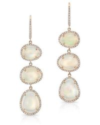 Anne Sisteron 14Kt Rose Gold Opal Diamond Triple Drop Earrings