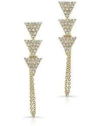 Anne Sisteron - 14kt Yellow Gold Diamond Stacked Triangle Chain Earrings - Lyst
