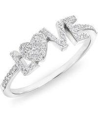 Anne Sisteron - 14kt White Gold Diamond Love Heart Ring - Lyst