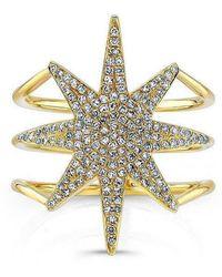 Anne Sisteron - 14kt Yellow Gold Diamond Star Ring - Lyst