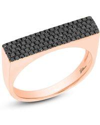 Anne Sisteron - 14kt Rose Gold Black Diamond Brick Ring - Lyst