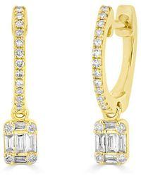Anne Sisteron - 14kt Yellow Gold Mini Baguette Diamond Rectangle Ryleigh Drop Earrings - Lyst
