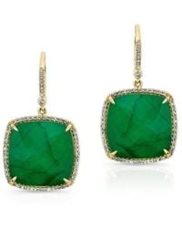Anne Sisteron - 14kt Yellow Gold Emerald Diamond Large Cushion Cut Earrings - Lyst