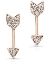 Anne Sisteron - 14kt Rose Gold Diamond Mini Arrow Stud Earrings - Lyst