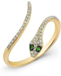 Anne Sisteron - 14kt Yellow Gold Diamond Slytherin Ring With Emerald Eyes - Lyst