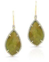 Anne Sisteron - 14kt Yellow Gold Green Tourmaline Diamond Leaf Earrings - Lyst