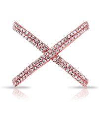 Anne Sisteron   14kt Rose Gold Diamond X Bandeau Ring   Lyst