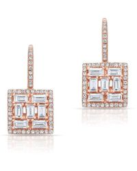Anne Sisteron - 14kt Rose Gold Baguette Diamond Square Labrynthe Earrings - Lyst