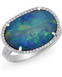 Anne Sisteron - 14kt White Gold Diamond Organic Shape Opal Ring - Lyst